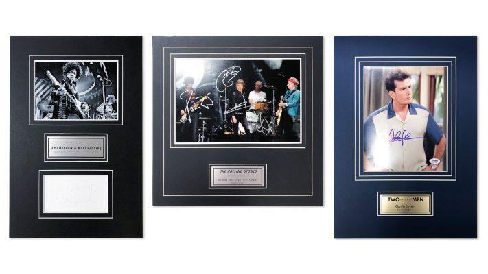 Zarámované podpisy slávnych ľudí - Charlie Sheen, Jimmy Hendrix, Rolling Stones